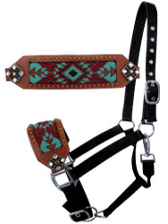 Showman ® Nylon bronc halter with turquoise and burgundy navajo beaded design.