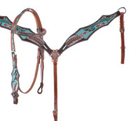 Showman ® Turquoise Beaded Browband Headstall and Breast Collar Set.