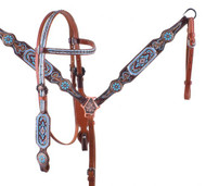 Showman ® Light Blue Beaded Headstall and Breast Collar Set.