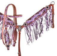 Showman ® Purple hand painted browband headstall and breast collar set.