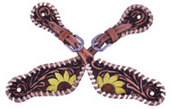 Showman ® Ladies Hand painted sunflower design spur straps.