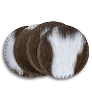 Brown and White Cowhide Coasters. Sold individually.