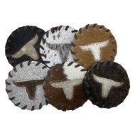Texas Longhorn Cowhide Coasters. Sold individually.