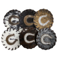 Horseshoe Cowhide Coasters. Sold individually.