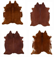 LG/XL Brazilian Solid Brown cowhide rugs. Measures approx. 42.5 - 50 square feet.