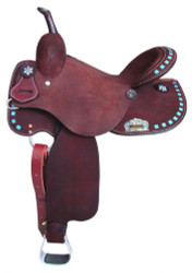 "15"", 16"" Circle S Barrel Style Saddle with turquoise buckstitch trim."