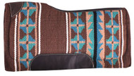 "Showman® 34"" x 36"" Brown and Turquoise memory felt bottom saddle pad."