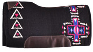 "Showman® 34"" x 36"" Pink and Blue Cross Design memory felt bottom saddle pad."