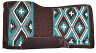 "Showman® 34"" x 36"" Brown and Teal Cross Design memory felt bottom saddle pad."