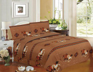 4PC Queen Size Tan Running Horse Sheet Set.