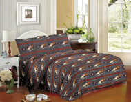 4PC Queen Size Gray Running Horse Sheet Set.