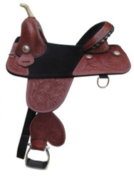 "16"" Double T Treeless Saddle with floral tooling."
