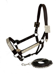Showman ®  Horse Size double stitched leather show halter with floral engraved silver plates.