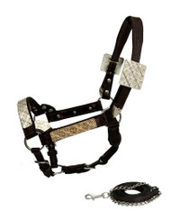 Showman ® Mini Size double stitched leather show halter with floral engraved silver plates.