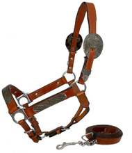 Showman ® Horse Size double stitched leather show halter with engraved silver plates.