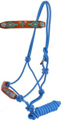 Showman ® Turquoise Leather nose cowboy knot rope halter with hand painted cross and navajo design.