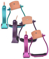 Showman® Color coated angled aluminum stirrups.