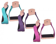 Showman ® Lightweight color coated twisted angled aluminum stirrups.