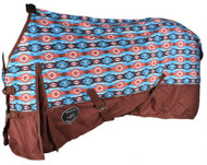 Showman ® Orange and Turquoise Southwest Print 1200D Turnout Sheet.