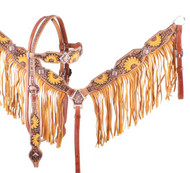 Showman ® Hand Painted Sunflower Browband Headstall and Breastcollar Set with Fringe.