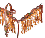 Showman ® Hand Painted Sunflower and Cactus Browband Headstall and Breastcollar Set with Fringe.