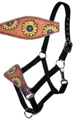 Showman ®  Leather bronc halter with hand painted sunflower design.