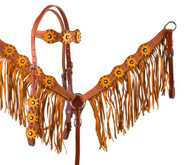 Showman ® Sunflower Overlay Browband Headstall and Breastcollar Set.