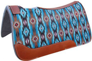 """Showman ® 31"""" X 32"""" Teal and Brown Southwest Printed Solid Felt Saddle Pad."""