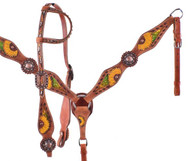 Showman ® Hand Painted Sunflower Single Ear Headstall and Breastcollar Set with multi colored metallic inlay.