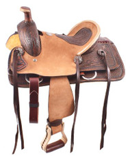 """12""""Double T  hard seat roper style saddle with basketweave and feather tooling."""