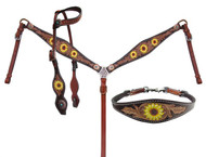 Showman ® Hand Painted Sunflower Leather Single Ear headstall and breastcollar set.
