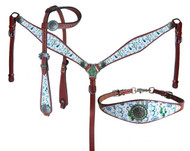 Showman ® Cactus Print One Ear Headstall and Breastcollar Set.