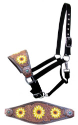 Showman ®  Adjustable nylon bronc halter with hand painted sunflower noseband.