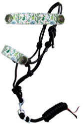 Showman ® Cactus print cowboy knot rope halter with leather nose.