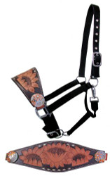 Showman ®  Adjustable nylon bronc halter with a sunflower tooled noseband.