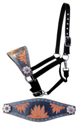 Showman ®  Adjustable nylon bronc halter with tooled sunflower noseband.