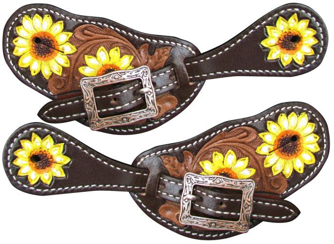 Western Saddle Horse Sunflower and Buckstitch Ladies Spur Straps for your Spurs
