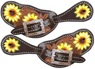 Showman ® Ladies Hand Painted Sunflower Spur Straps.
