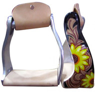 Showman ® Lightweight twisted angled aluminum stirrups with sunflower and leather look overlay.