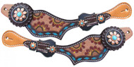 Showman ® Ladies Hand Painted Sunflower Spur Straps with turquoise buckstitch.