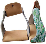 Showman ® Lightweight twisted angled aluminum stirrups with cactus design.