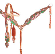 Showman ® White and Pink Sunflower and Cactus Brow Band headstall and breast collar set.