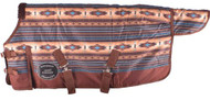 "PONY/YEARLING 48""-54""  Waterproof and Breathable Showman ® Brown and Turquoise Southwest Print 1200D Turnout Blanket."
