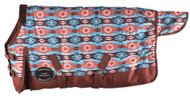 "PONY/YEARLING 56""-62""  Waterproof and Breathable Showman ® Orange and Turquoise Southwest Print 1200D Turnout Blanket."