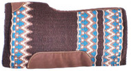 "Showman® 34"" x 36"" Brown, Cream, and Turquoise memory felt bottom saddle pad."