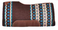 "Showman® 34"" x 36"" Brown & Turquoise memory felt bottom saddle pad."