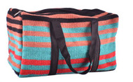 Showman ® Brown, Teal, and Red 100% Wool Serape Saddle Blanket Duffel Bag.