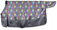 "PONY/YEARLING 48""-54""  Waterproof and Breathable Showman ® Unicorn Print 1200D Turnout Blanket."