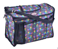 Showman® Unicorn printed nylon cordura grooming carrier with durable nylon shoulder straps.