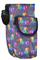 Showman ® Unicorn printed insulated nylon bottle carrier with pocket.